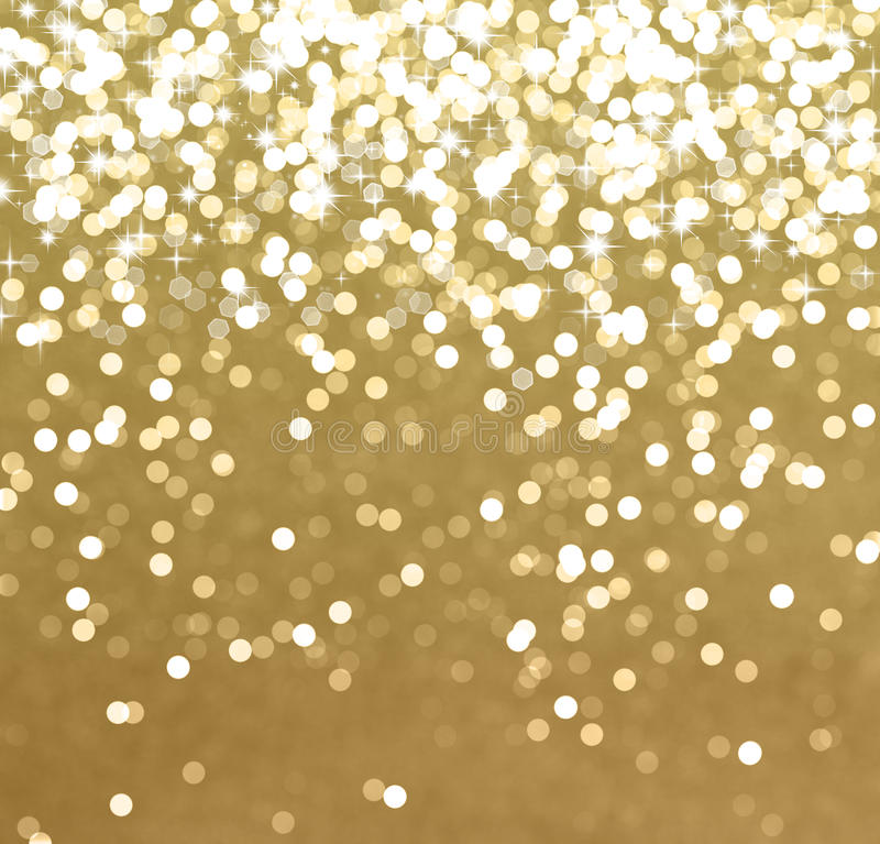 Glittery gold Christmas background. With stars and bokeh lights vector illustration