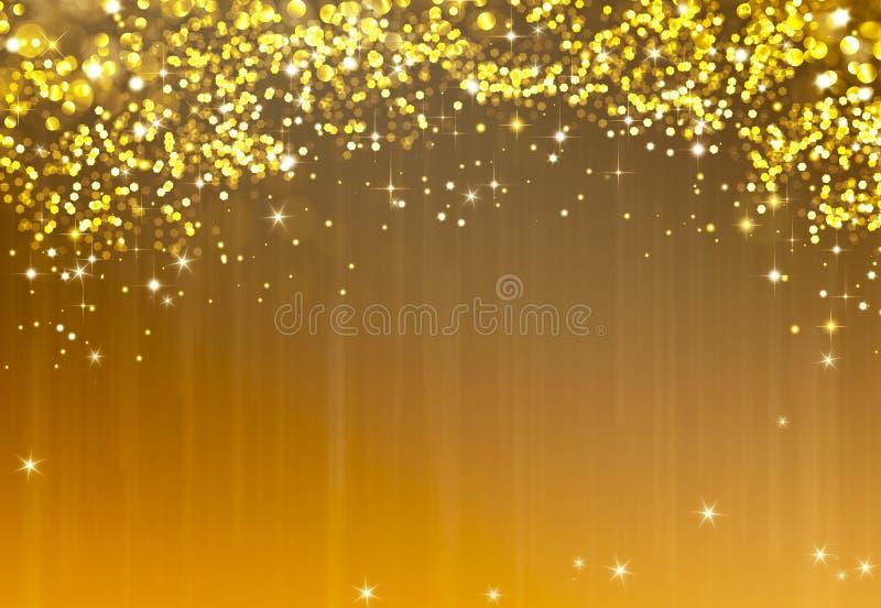 Glittery guld- festlig bakgrund med stjärnor royaltyfri illustrationer