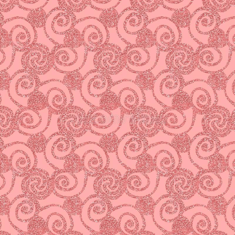 Glittery pink flourish and swirls repeating pattern. Glittery pink floral swirls in a repeating pattern for festive feminine surface designs, textile, fabric vector illustration