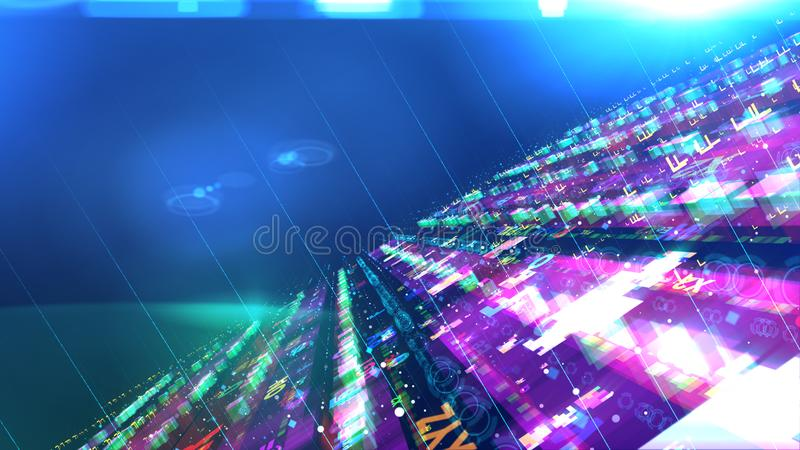 Glittery space construction with spinning UFOs stock illustration