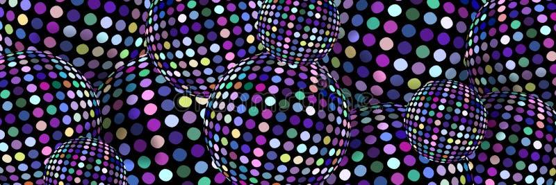 Glitz lila 3d klumpa ihop sig diskobakgrund Mosaiken skimrar det idérika banret vektor illustrationer
