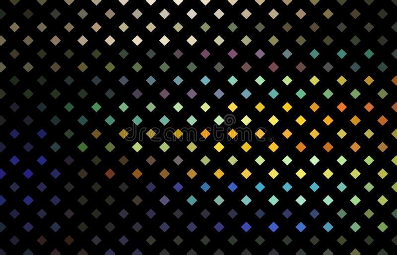 Glitz mosaic pattern. Yellow blue orange holographic rhombs on black background. royalty free illustration