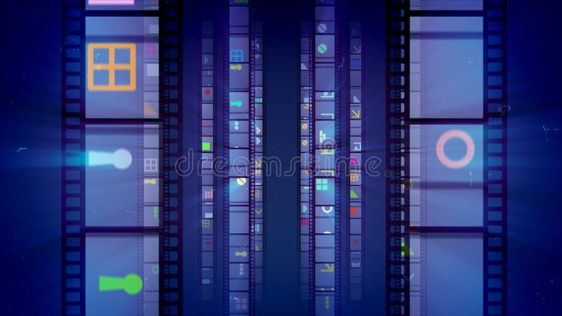 Glitzy Violet Vintage Retro Film Tape. A dazzling 3d illustration of vertical film tapes beaming like mirrors with colorful images and moving forward in the dark vector illustration