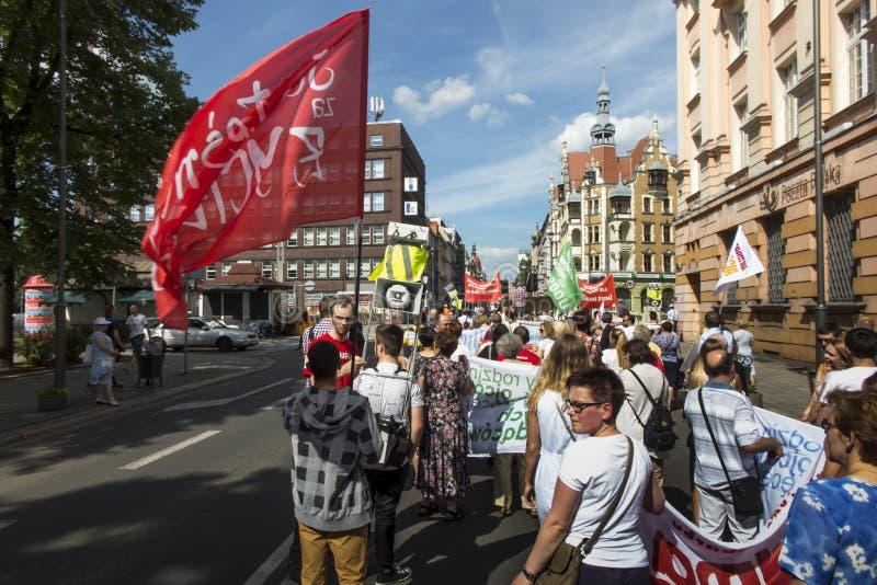 Gliwice, Polonia, el 11 de junio de 2017: Marzo para la vida y familia, marcha para Jesús por las calles de Gliwice imágenes de archivo libres de regalías