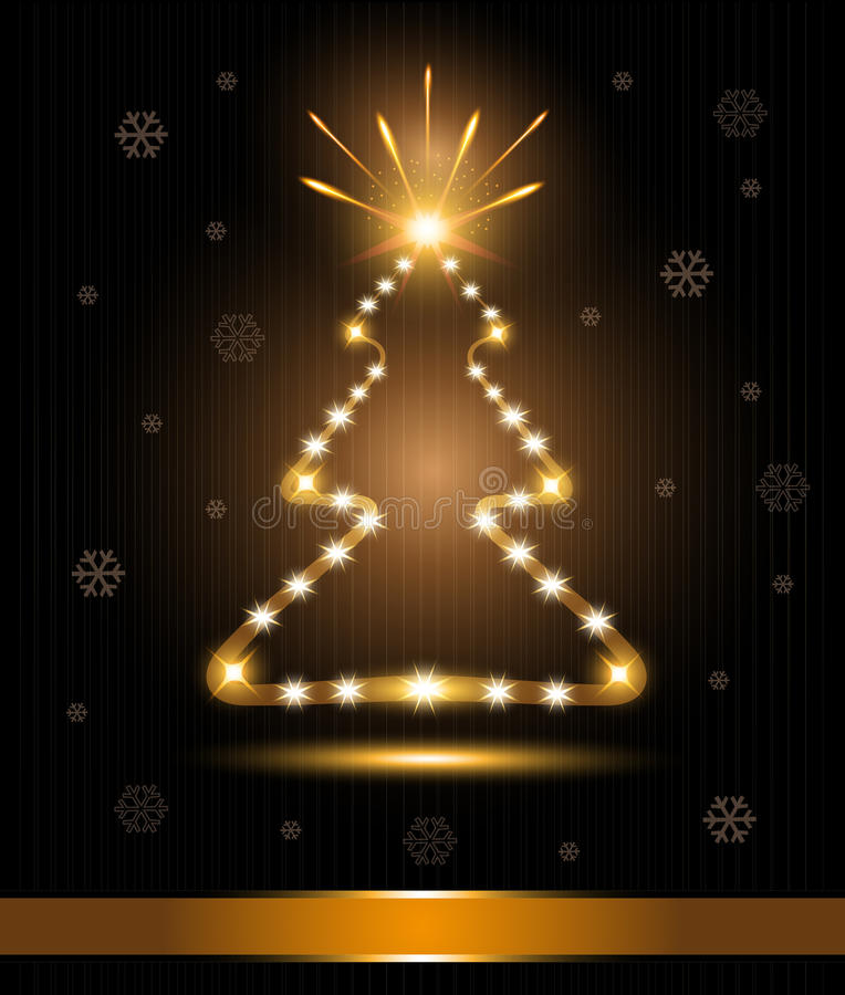 Glo dell'indicatore luminoso dell'oro di congratulazioni della scheda dell'albero di Natale illustrazione di stock