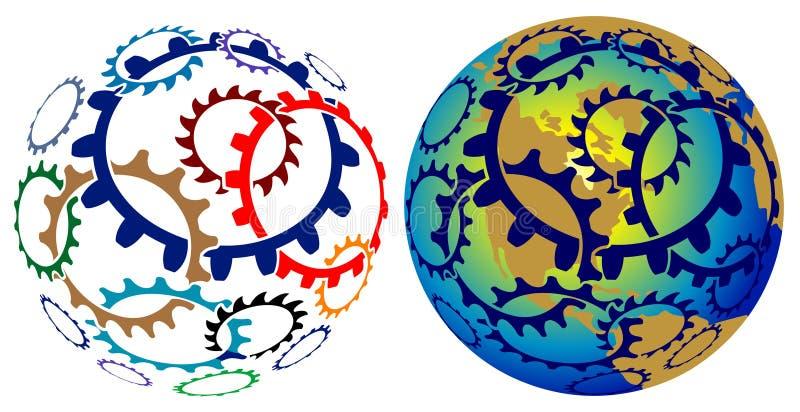 Glob de las ruedas de engranaje ilustración del vector