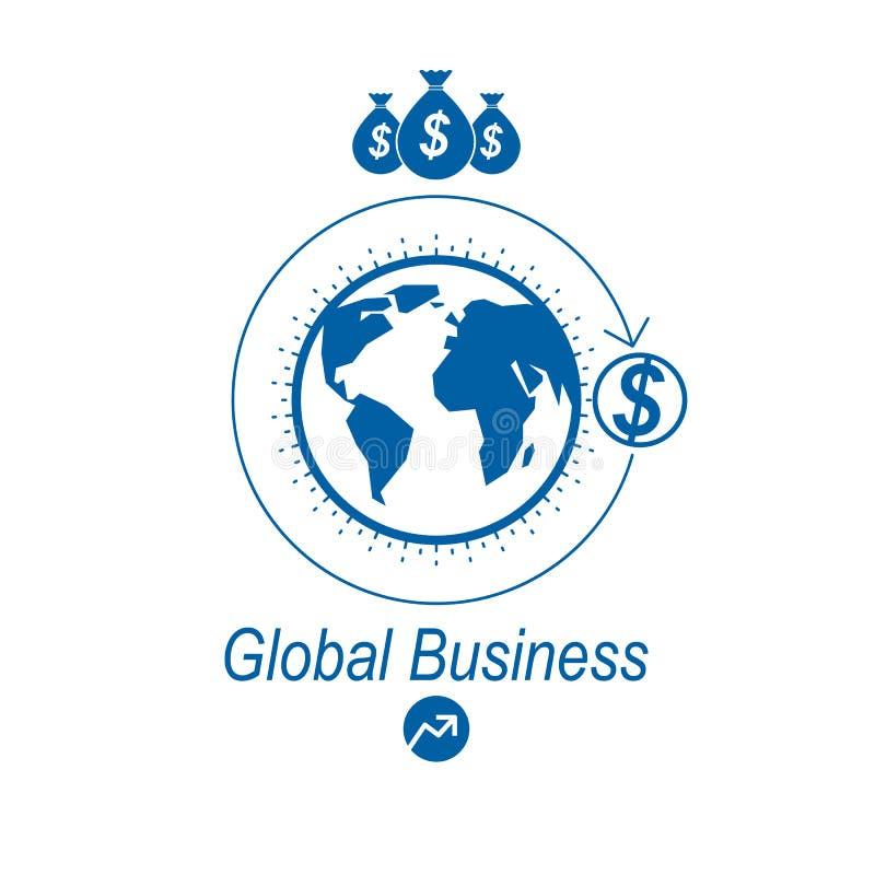 Globaal Bedrijfs en E-business creatief embleem, uniek vectordiesymbool met verschillende elementen wordt gecreeerd Globaal Finan vector illustratie