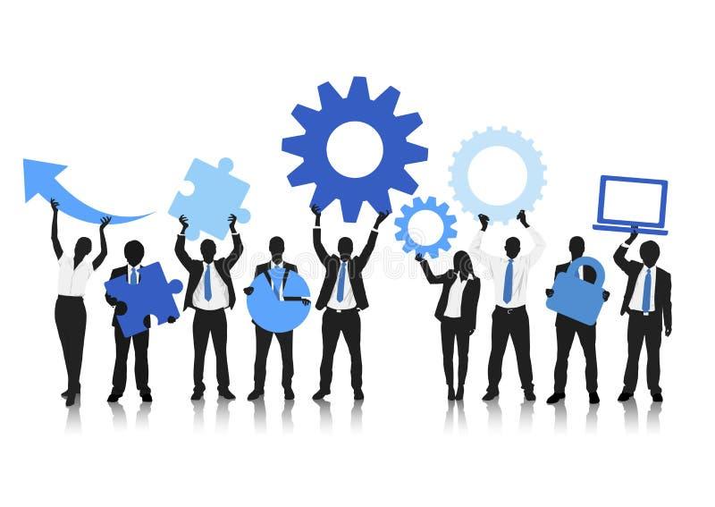 Globaal bedrijfsgroepswerk Vectorconcept vector illustratie