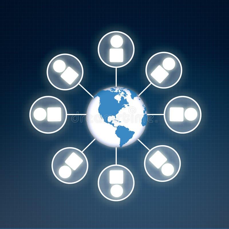 Globaal bedrijfsinformatiesymbool ter wereld royalty-vrije illustratie