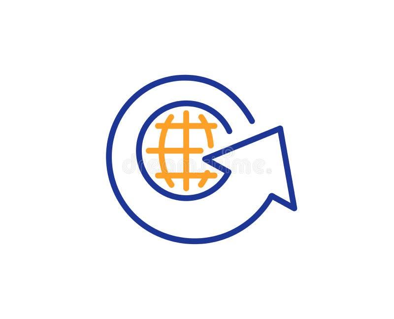 Globaal bedrijfslijnpictogram Het teken van de aandeelpijl Vector vector illustratie