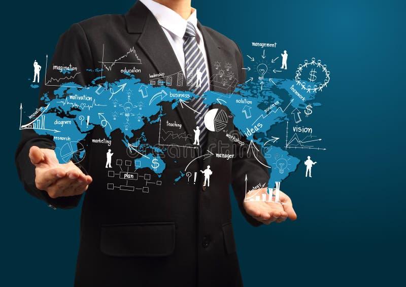 Globaal businessplan ter beschikking van zakenman royalty-vrije illustratie
