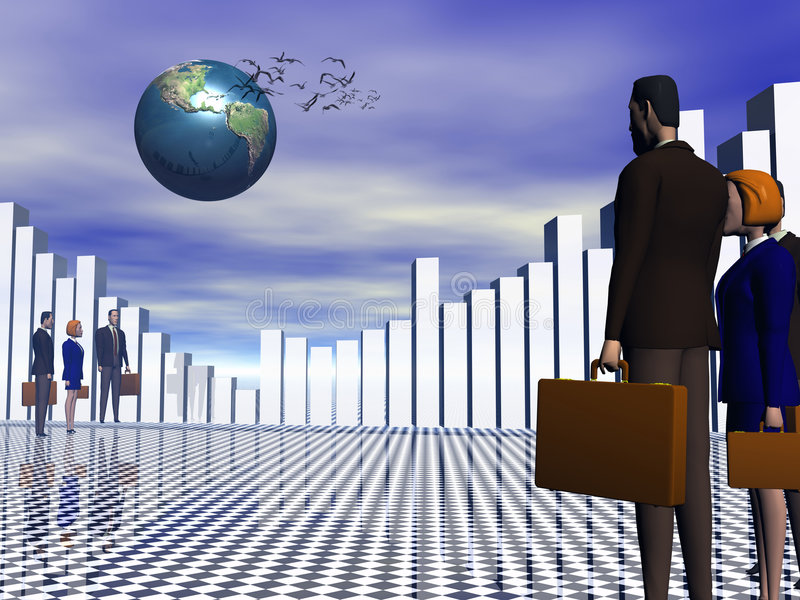 Globaal Commercieel team aan succes. royalty-vrije illustratie