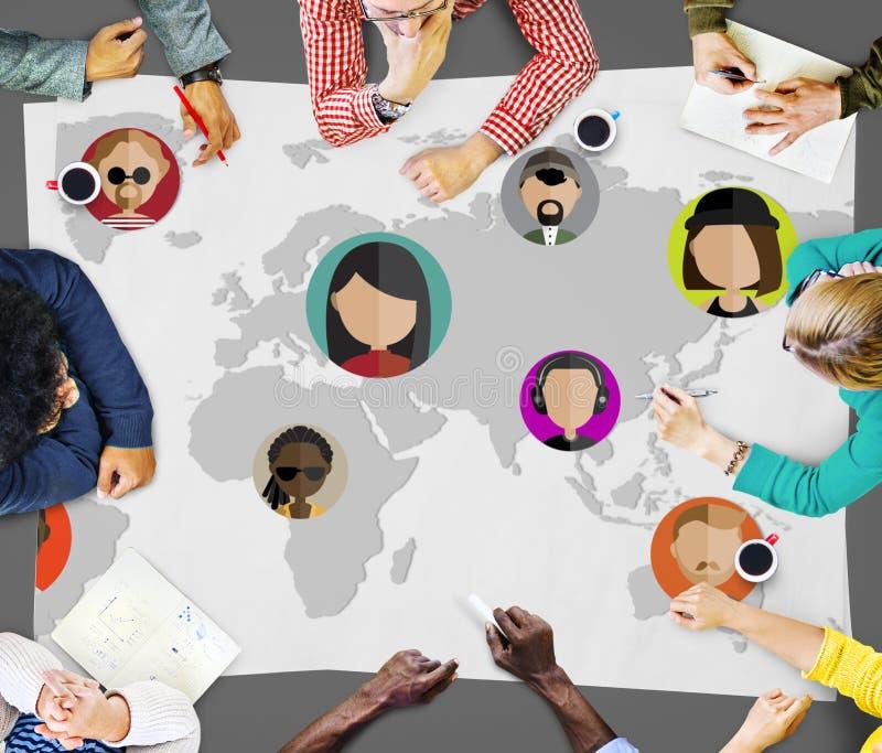 Globaal Communautair Internationaal de Nationaliteitsconcept van Wereldmensen stock foto's