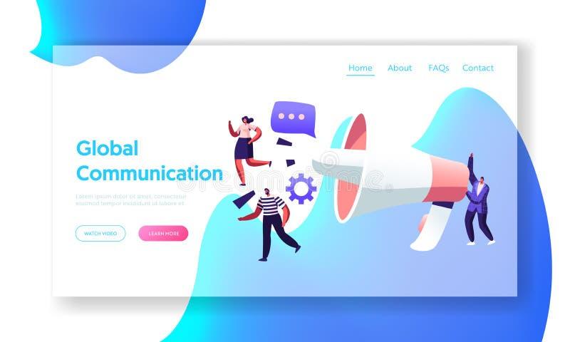 Globaal Communicatie Concept, Op de markt brengend Team met Reusachtige Megafoon, Alarm die, Propaganda, Public relations adverte royalty-vrije illustratie