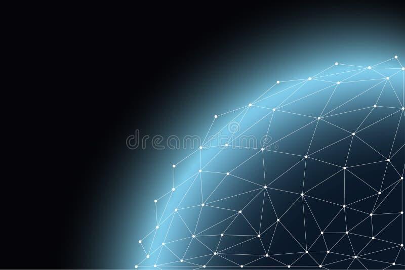 Globaal communicatienetwerk rond de wereld, uitwisseling wereldwijd van informatie door onderlinge verbinding van netwerken royalty-vrije stock afbeeldingen