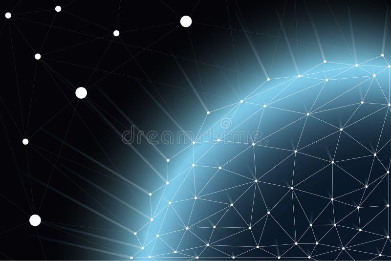 Globaal communicatienetwerk rond de wereld, uitwisseling wereldwijd van informatie door onderlinge verbinding van netwerken stock illustratie