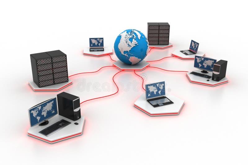 Globaal computervoorzien van een netwerk stock illustratie