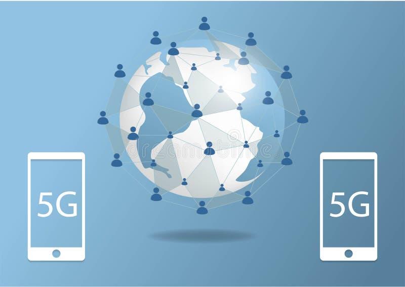 Globaal de hoge snelheidstarief van Internet van de netwerkverbinding 5G De lijnvan het wereldpunt informatietechnologie zaken de vector illustratie