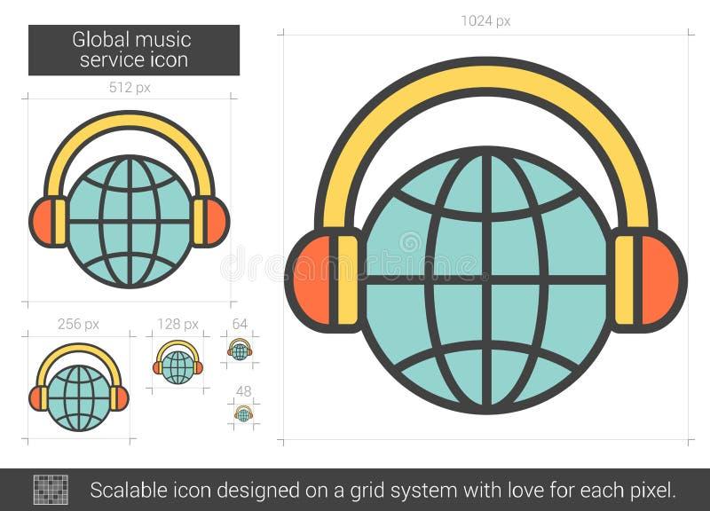 Globaal de lijnpictogram van de muziekdienst vector illustratie