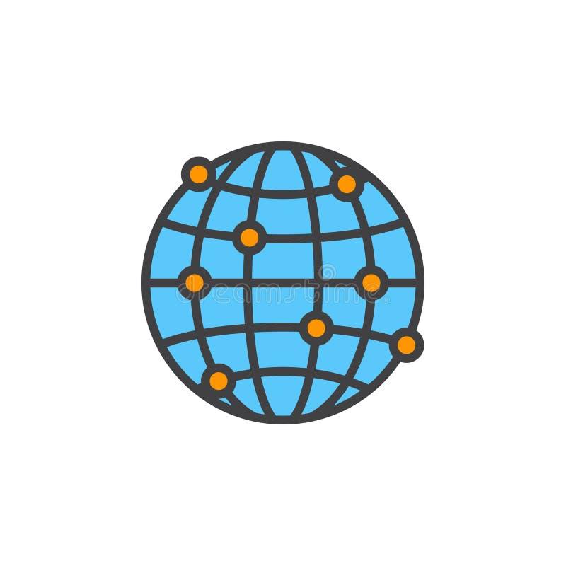 Globaal de lijnpictogram van netwerkverbindingen, gevuld overzichts vectorteken royalty-vrije illustratie