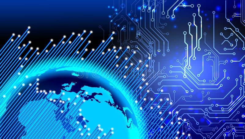 Globaal digitaal technologieconcept Digitale blauwe gegevensbanen De technologie van het wereldnetwerk Technologiemededeling royalty-vrije illustratie