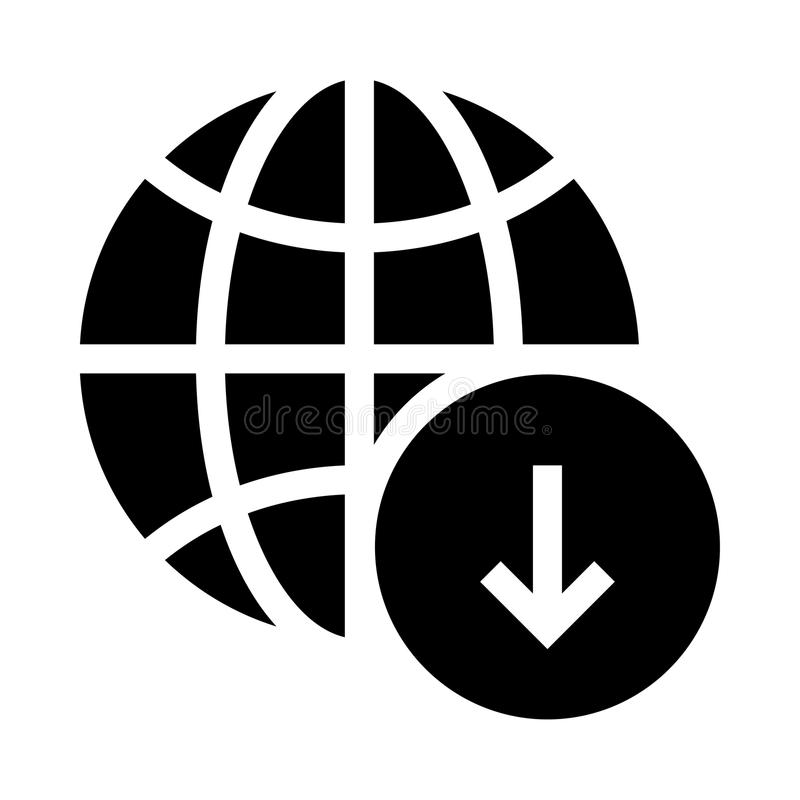 Globaal download glyphs pictogram stock illustratie