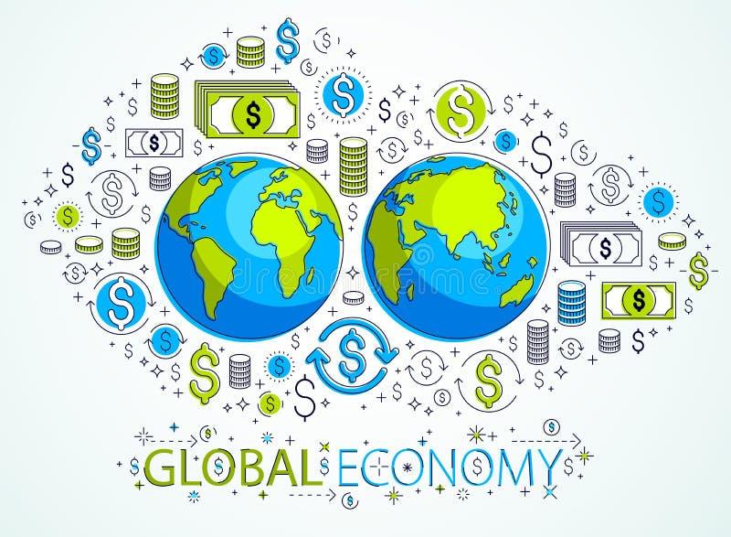 Globaal economieconcept, aarde met geplaatste dollarpictogrammen, internationale zaken, muntuitwisseling, het mondiale net van In vector illustratie