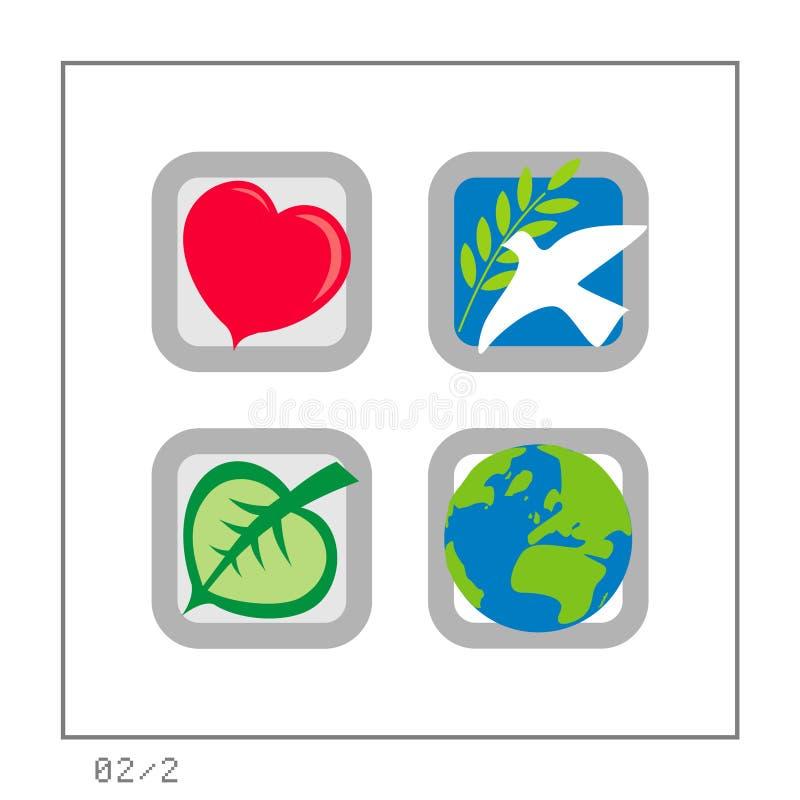 GLOBAAL: Het pictogram plaatste 02 - Versie 2 stock illustratie