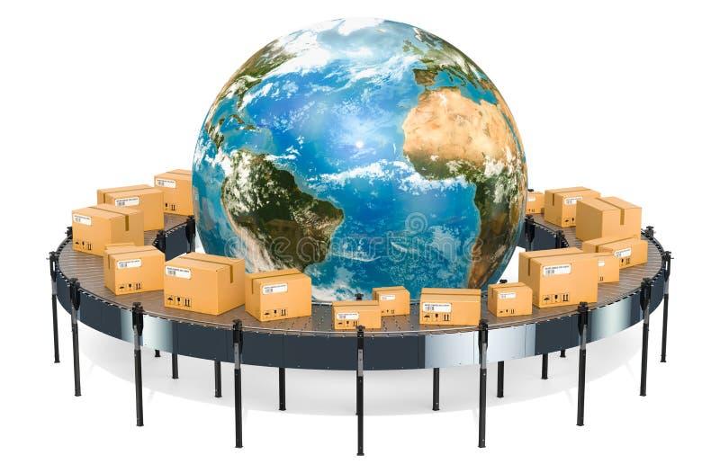 Globaal het verschepen en leveringsconcept, de dozen van het pakkettenkarton vector illustratie