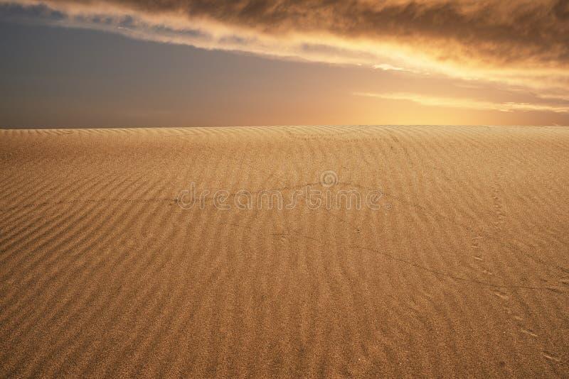 Globaal het verwarmen concept Eenzame zandduinen onder de dramatische hemel van de avondzonsondergang bij het landschap van de dr stock afbeeldingen