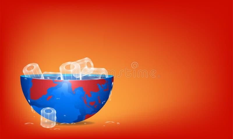 Globaal het verwarmen concept vul het zo koele ijs aan de aarde op Hete Planeet Illustratie esp10 stock illustratie