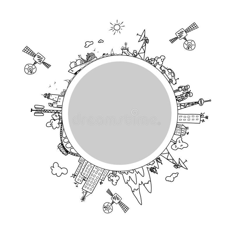 Globaal informatienetwerk op de bol stock illustratie
