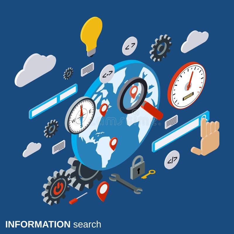 Globaal informatieonderzoek, SEO-optimalisering, het vectorconcept van het Webonderzoek vector illustratie