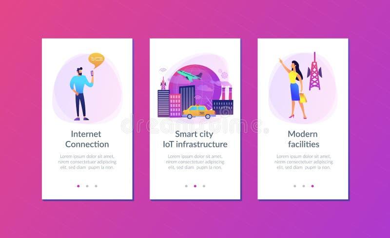 Globaal Internet van app van de dingen slim stad interfacemalplaatje vector illustratie