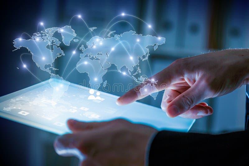 Globaal mededeling en voorzien van een netwerk stock afbeelding