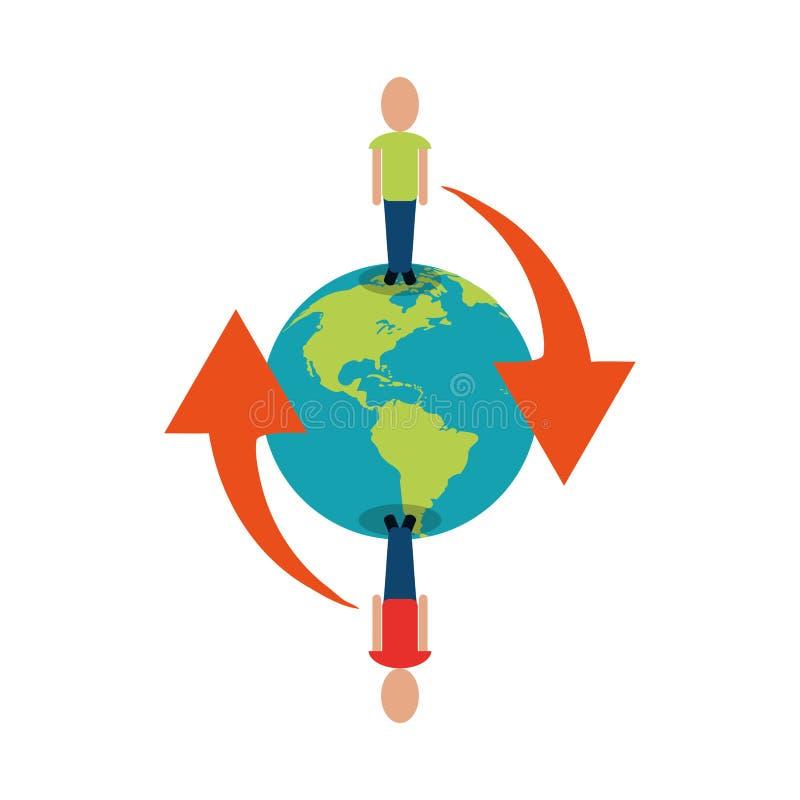 Globaal mensen verbonden communicatienetwerk rond vector illustratie