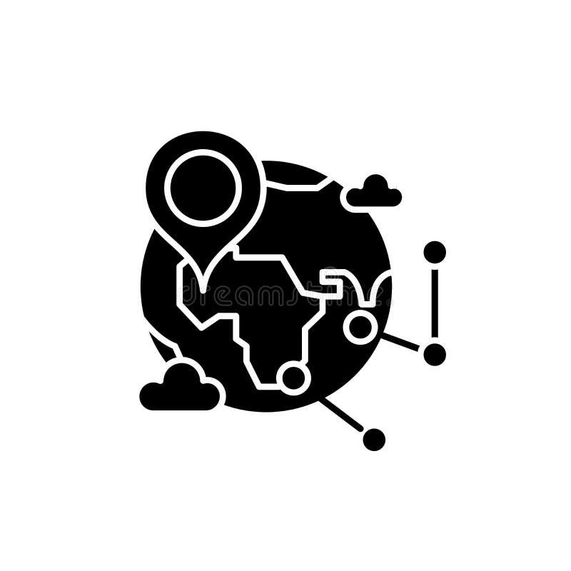 Globaal onderzoek zwart pictogram, vectorteken op geïsoleerde achtergrond Het globale symbool van het onderzoekconcept, illustrat vector illustratie