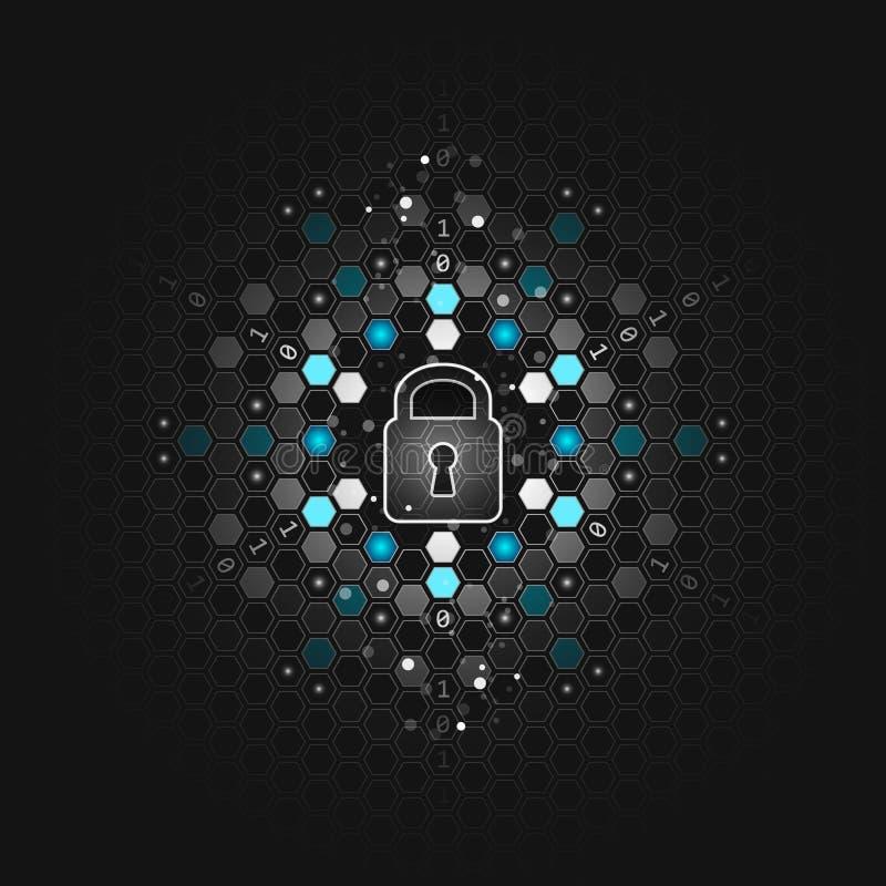 Globaal veiligheidsconcept Abstracte donkere technologische achtergrond Slot, zeshoek en kringsraad Vector ontwerp stock illustratie