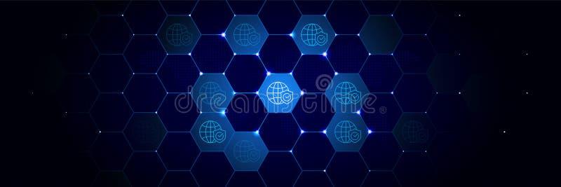 Globaal, veiligheidspictogram van Algemeen gegevensproject dat in technologisch wordt geplaatst royalty-vrije illustratie