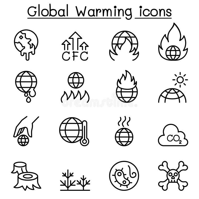 Globaal Verwarmend pictogram dat in dunne lijnstijl wordt geplaatst royalty-vrije illustratie