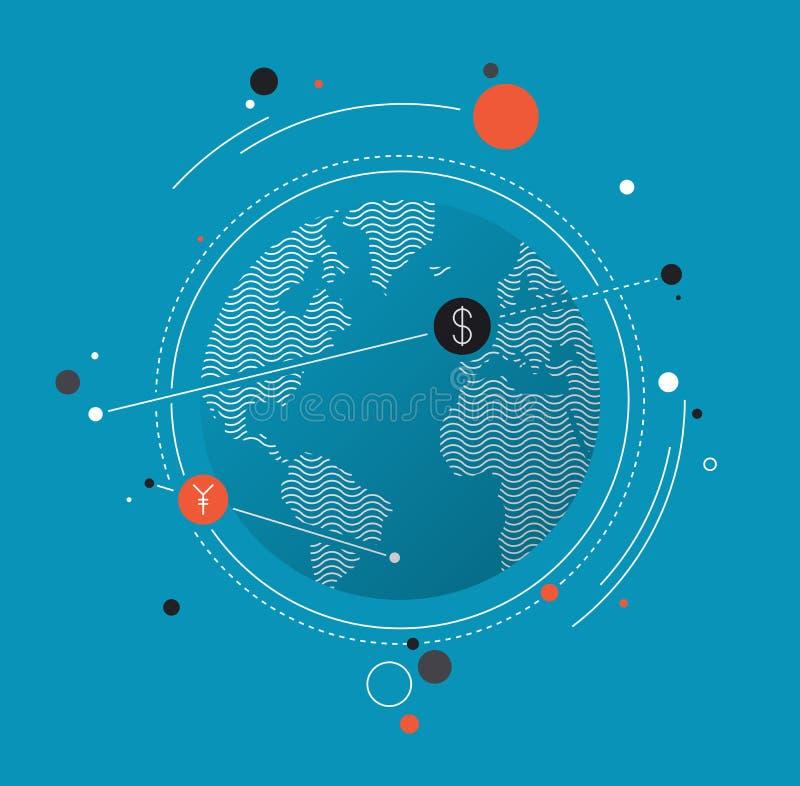 Globaal vlak de illustratieconcept van de gelduitwisseling stock illustratie