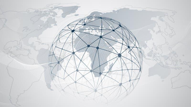 Globaal Voorzien van een netwerk en Wolk Gegevensverwerkingsontwerpconcept met Bol en Wereldkaart - Digitaal Netwerkverbindingen, vector illustratie