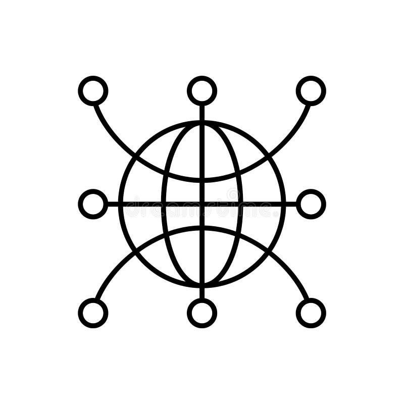Globaal Web, netwerk, wereldpictogram - Vector Kunstmatige intelligentie royalty-vrije illustratie