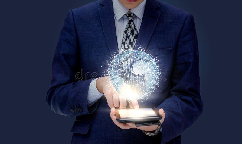 Global affär i mobila enheten royaltyfria foton