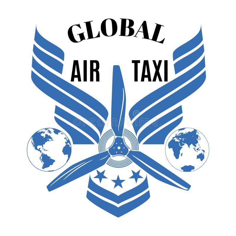 Global air taxi vector logo, emblem design template stock images