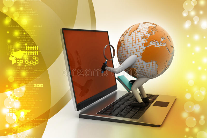 Global analysing. In color background royalty free illustration