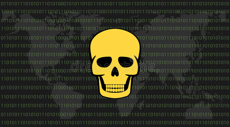 Global attack ransomware skull with binary code background and world download global attack ransomware skull with binary code background and world map stock vector illustration gumiabroncs Image collections