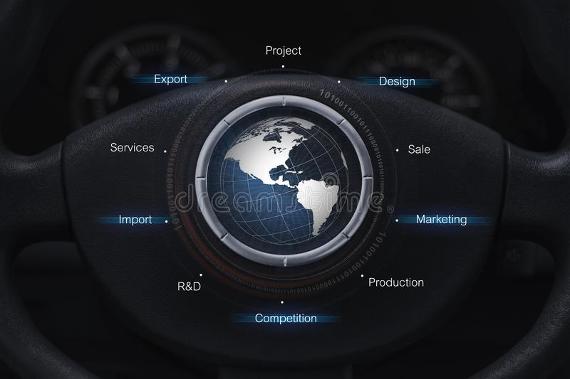 Global auto industry concept. On the panel stock image
