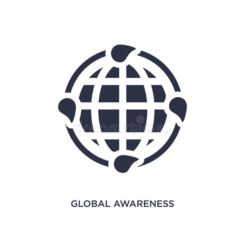 global awareness icon on white background. Simple element illustration from ecology concept stock illustration