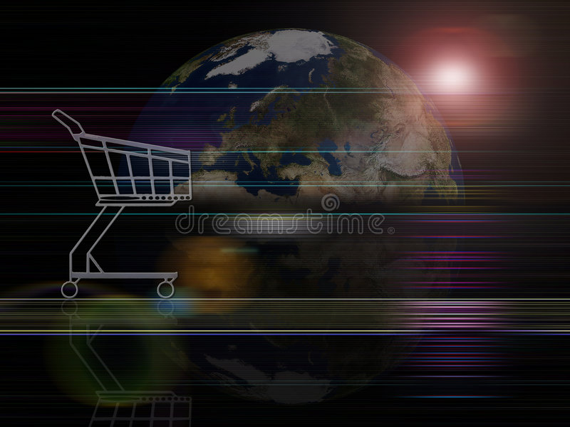 Global background series- Trade. Shopping cart against the Earth royalty free illustration